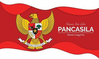 Pancasila Day With Paper Wave vector