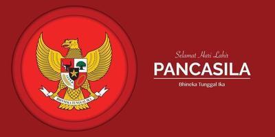 Pancasila Day Papercut Banner Template vector