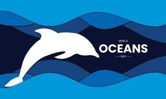 World Oceans Day Paper Wave Vector