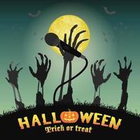 halloween karaoke micrófono esqueleto zombie mano vector