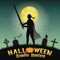 halloween knight with sword in night graveyard vector