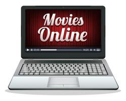 laptop with movies online on a screen vector