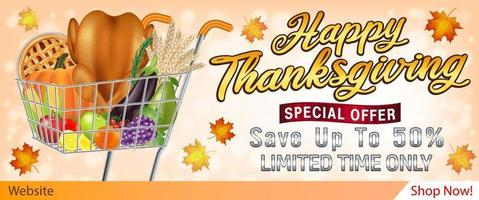 happy thanksgiving sale banner with foods and fruits in shopping cart vector