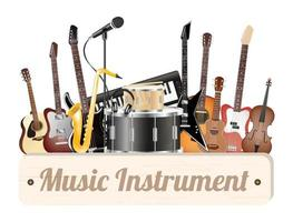 music instrument wood board with electric acoustic guita, bass, drum, snare violin, ukulele, saxophone, keyboard, microphone and headphone vector