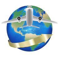 white airplane travel around the world vector