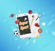 Super Sport on smartphone screen with sport equipments floating on exploded smartphone vector