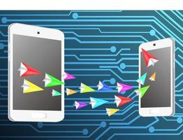 Paper airplanes and smartphone tablet concept transfer data vector