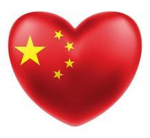 bandera china en un vector logo de corazón de amor