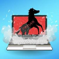 trojan horse virus computer destroys laptop vector