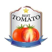label of red tomato ketchup brand logo vector