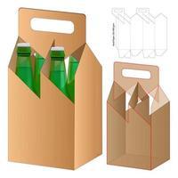 beverage packaging die cut template design. 3d mock-up vector