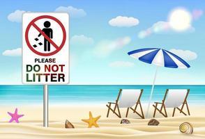 Por favor, no tire basura en la playa de arena de mar vector