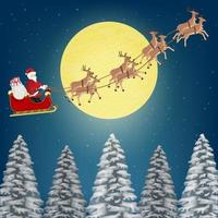 santa claus with reindeers flying over pine forest vector