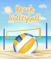 beach volleyball and net on a sea sand beach vector