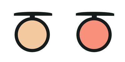 Make-up, pink and peach blush blush for facial tone correction vector