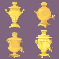 Set of golden samovars. vector