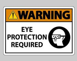 Warning sign Eye Protection Required on white background vector