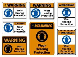 Warning Wear hearing protection sign on white background vector