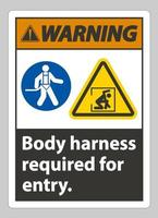 Warning Sign Body Harness Required For Entry vector