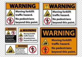 Moving forklift traffic hazard No pedestrians beyond this point Symbol Sign Isolate on transparent Background vector
