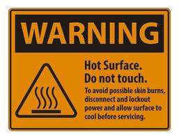 Hot Surface Do Not Touch To Avoid Possible Skin Burns Disconnect And Lockout Power And Allow Surface To Cool Before Servicing Symbol Sign vector