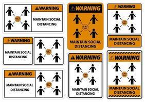 Warning Maintain social distancing stay 6ft apart sign coronavirus COVID 19 Sign vector