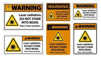 Warning Laser radiation do not stare into beam class 2 laser product Sign on white background vector