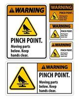 Warning Pinch Point Moving Parts Below Keep Hands Clear Symbol Sign vector