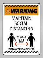 Warning Maintain Social Distancing At Least 6 Ft Sign vector