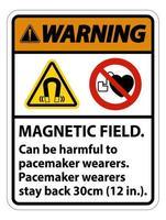 Advertencia El campo magnético puede ser perjudicial para los usuarios de marcapasos Los usuarios de marcapasos se quedan atrás 30 cm. vector