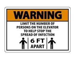 Warning Elevator Physical Distancing Sign vector
