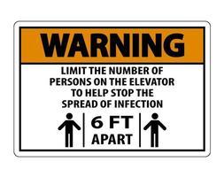 Señal de distancia física del ascensor de advertencia vector