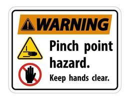Warning Pinch Point Hazard Keep Hands Clear Symbol Sign vector