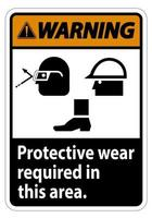Warning Sign Protective Wear Is Required In This Area With Goggles Hard Hat And Boots Symbol vector