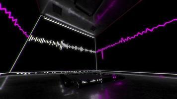3 d rosa sobre negro ecualizador caja de sonido vj loop video