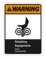Rotating Equipment Starts Automatically Symbol Sign vector