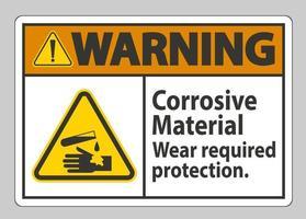 señal de advertencia materiales corrosivos desgaste protección requerida vector
