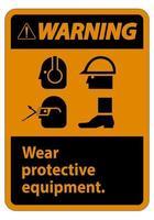 señal de advertencia use equipo de protección con símbolos de ppe vector