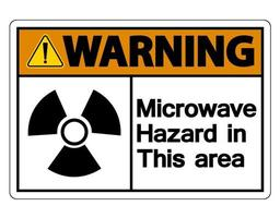 Warning Microwave Hazard Sign on white background