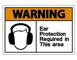 Advertencia: se requiere protección para los oídos en esta área. vector