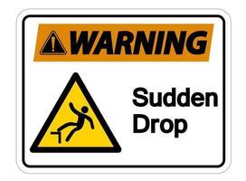 Warning Sudden Drop Symbol Sign vector