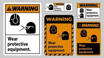 Warning Sign Wear Protective Equipment with goggles and glasses graphics vector
