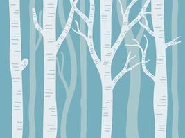 Aspen trees with blue background vector