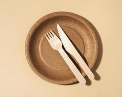 Eco friendly disposable tableware and copy space photo
