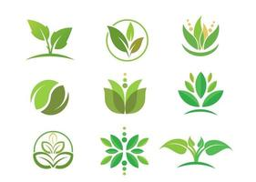 simple circle green Leaf logo vector collection