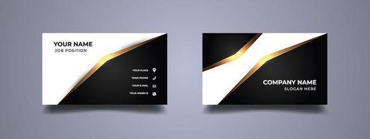 Luxury business card black and white background. Elegant golden modern design. Vector illustration.