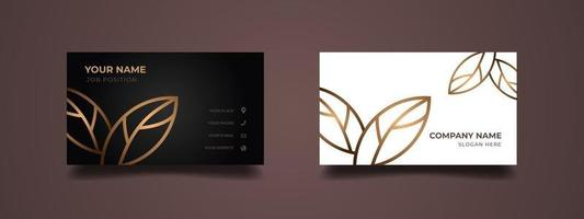 Elegant business card design with gold lines leaf pattern. Abstract luxury background with black and white in two-sided. Vector illustration ready to print.