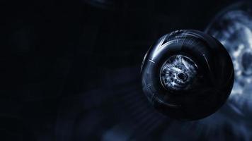 loop de esfera digital escura no espaço virtual da matriz video