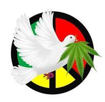 paloma blanca volando con marijuanas y logo de paz vector