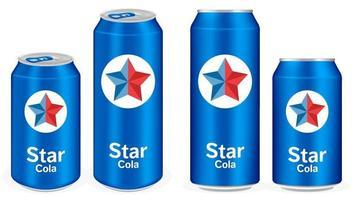 blue cola aluminium soft drink cans vector